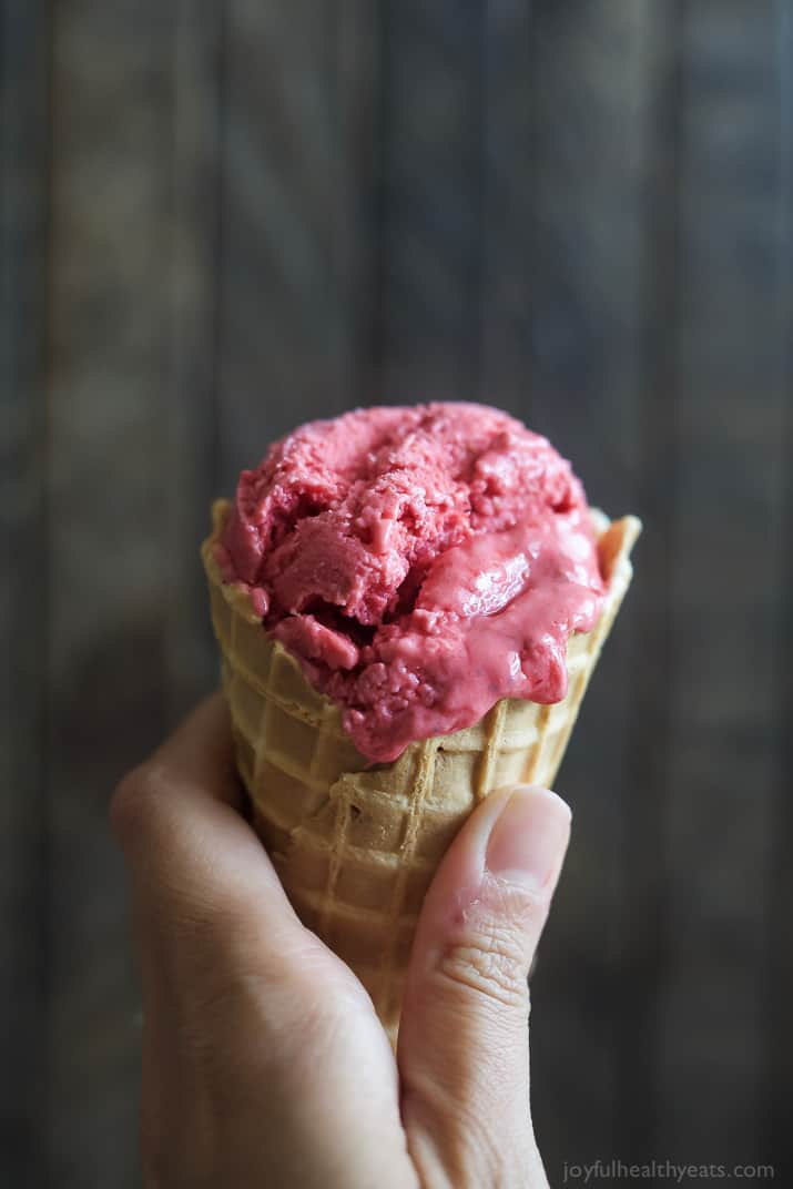 Lemon Raspberry Frozen Yogurt in a waffle cone