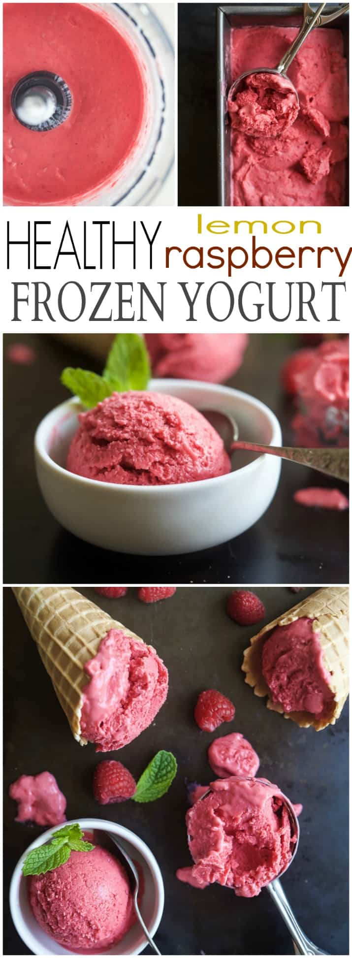 5 Minute Lemon Raspberry Frozen Yogurt using only 4 ingredients - it's healthy, sweet, delicious and so easy to make! | gluten free recipes