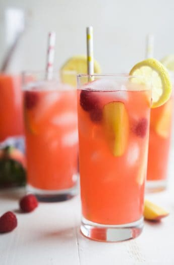Image of Homemade Raspberry Peach Lemonade