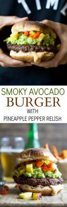 Delicious Smoky Avocado Burger with Pineapple Pepper Relish!