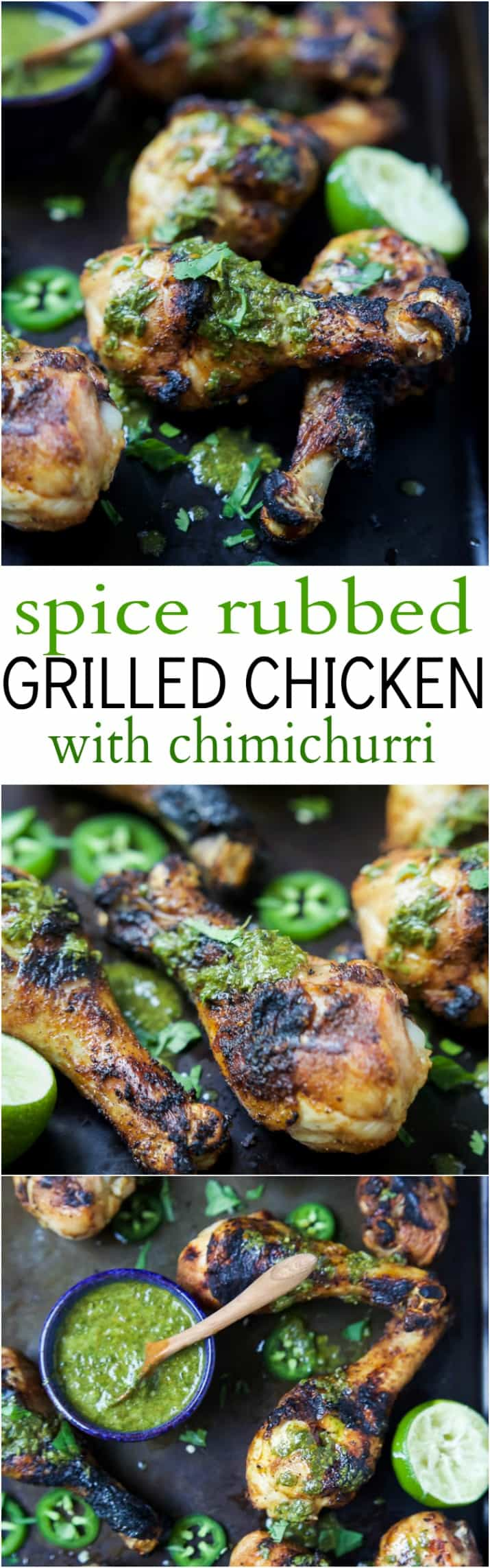 Spice Rub Grilled Chicken with a fresh Chimichurri sauce - a healthy, easy, 30 minute meal packed with fresh zesty flavors. This chicken recipe will quickly be a family favorite! | joyfulhealthyeats.com #paleo #glutenfree