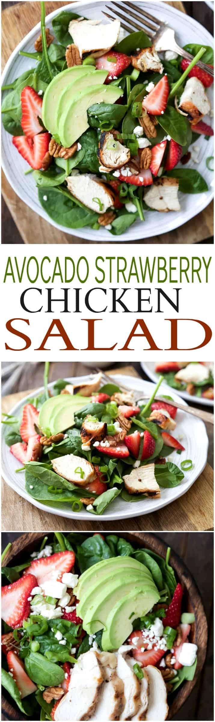 Strawberry Avocado Chicken Salad Recipe + DIY Balsamic Vinaigrette
