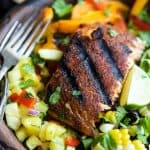 blackened salmon salad with pineapple salsa