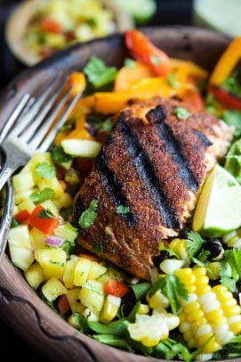 Image of a Blackened Grilled Salmon Salad with Pineapple Salsa