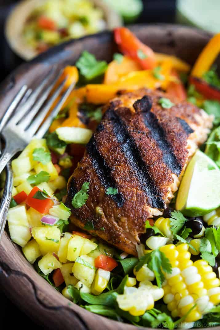 Blackened Grilled Salmon Salad topped with grilled corn, black beans ...