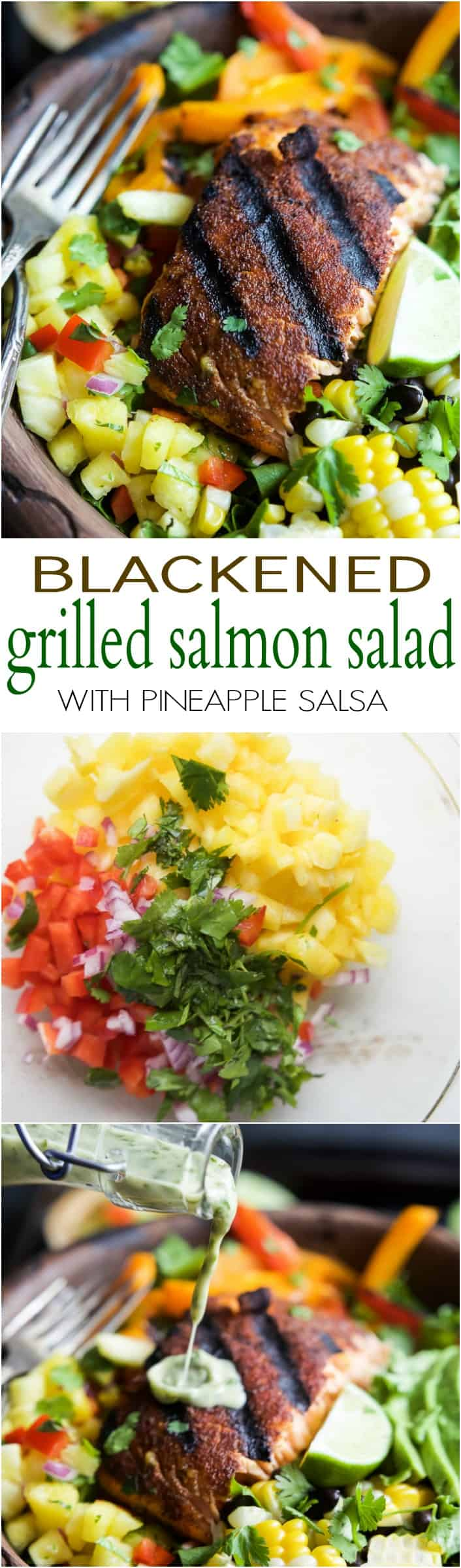 Title image for Blackened Grilled Salmon Salad with Pineapple Salsa