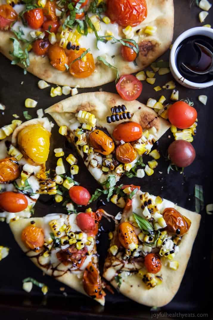 Charred Corn Caprese Flatbread with Balsamic Reduction - web-6