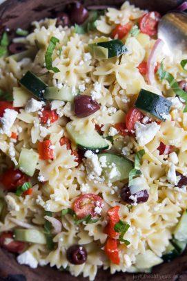 greek pasta salad recipe in a bowl