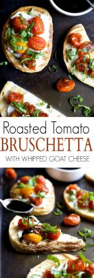 A collage of Roasted Tomato Bruschetta with Whipped Goat Cheese.
