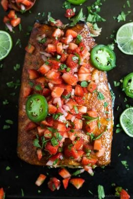 Spice Rubbed Cedar Plank Salmon with Strawberry Salsa - web-5