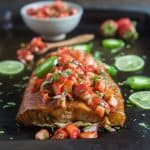 Spice Rubbed Cedar Plank Salmon with Strawberry Salsa
