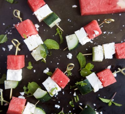 Watermelon Feta Bruschetta, the easiest appetizer recipe you'll ever make! Watermelon, Cucumber, and Feta Cheese all skewered together and topped with a sweet Balsamic Reduction that'll blow your mind. A must this summer!   joyfulhealthyeats.com #glutenfree