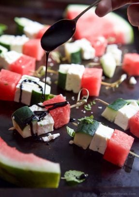 Image of Watermelon Feta Bruschetta Skewers