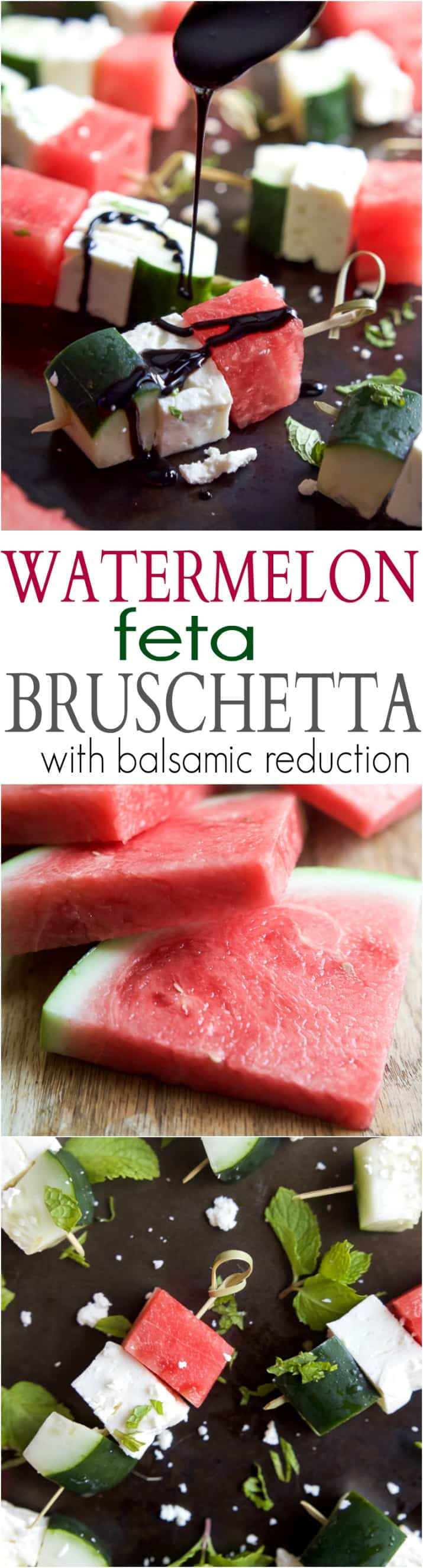Watermelon Feta Bruschetta, the easiest appetizer recipe you'll ever make! Watermelon, Cucumber, and Feta Cheese all skewered together and topped with a sweet Balsamic Reduction that'll blow your mind. A must this summer! | joyfulhealthyeats.com #glutenfree