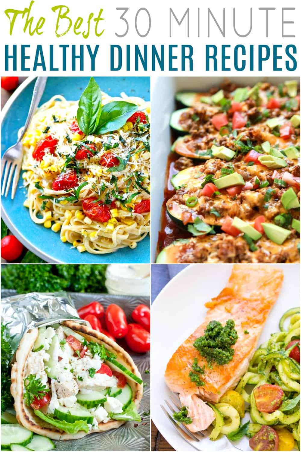 A Collage of Four Easy and Healthy Dinner Recipes