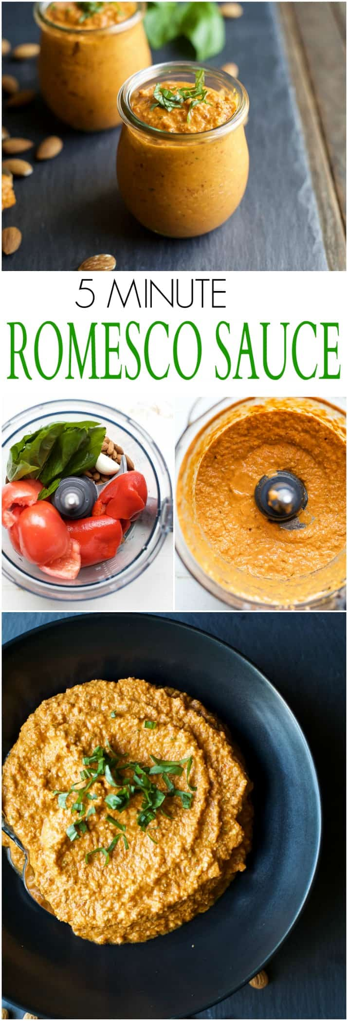 Quick & Easy 5 Minute Romesco Sauce, this spanish sauce is pure magic. You can use it as a marinade, condiment, dip or just eat it with a spoon! Made from just 7 ingredients in a blender this sauce comes together in minutes! | joyfulhealthyeats.com #paleo #glutenfree