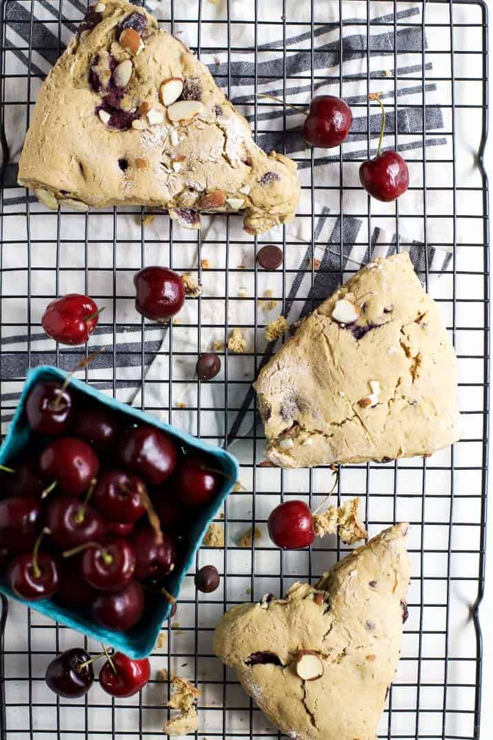 The easiest scone recipe you'll ever make, because it's made in a blender!! Almond Chocolate Cherry Scones, loaded with flavor and CHOCOLATE! These scones are the perfect quick breakfast and your coffees new best friend! | joyfulhealthyeats.com