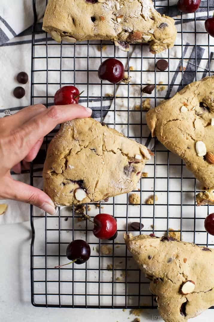 Almond cherry scones on a cooling rack
