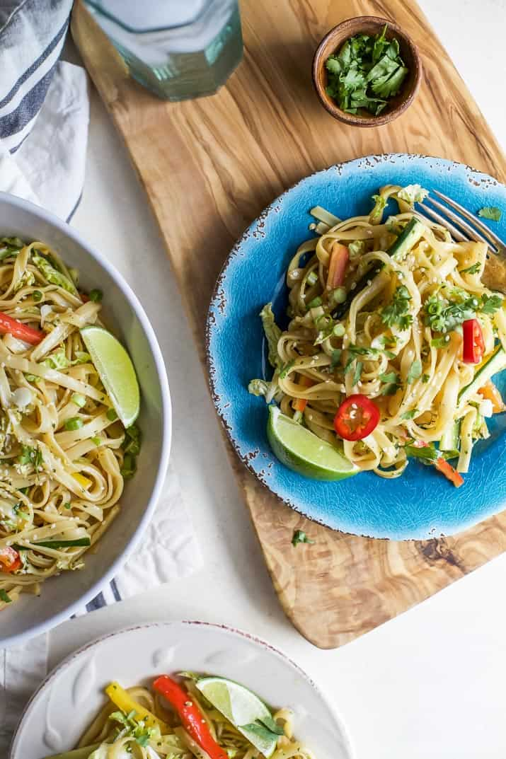 Asian Noodle Salad with a Spicy Sesame Dressing - easy to make, low in calories and bursting with flavor. Once you try this you'll be craving it all the time. | joyfulhealthyeats.com #vegetarian