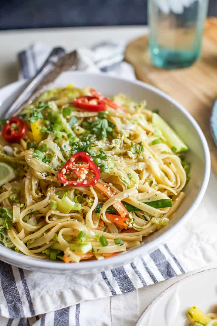 Asian Noodle Salad With A Spicy Sesame Dressing Easy To Make Low In Calories