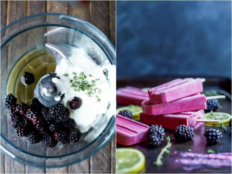 Blackberry Thyme Yogurt Popsicles, a frozen treat that will make your taste buds dance with excitement! Less than 5 minutes to make, 5 ingredients and under 75 calories a serving! Woot! | joyfulhealthyeats.com #glutenfree
