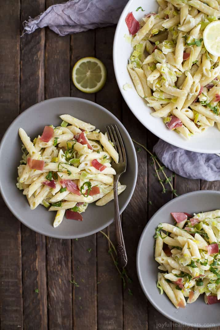 Creamy Lemon Pasta with salty Prosciutto - this pasta recipe is easy to make, filled with flavor, and guaranteed to be a new family favorite! | joyfulhealthyeats.com