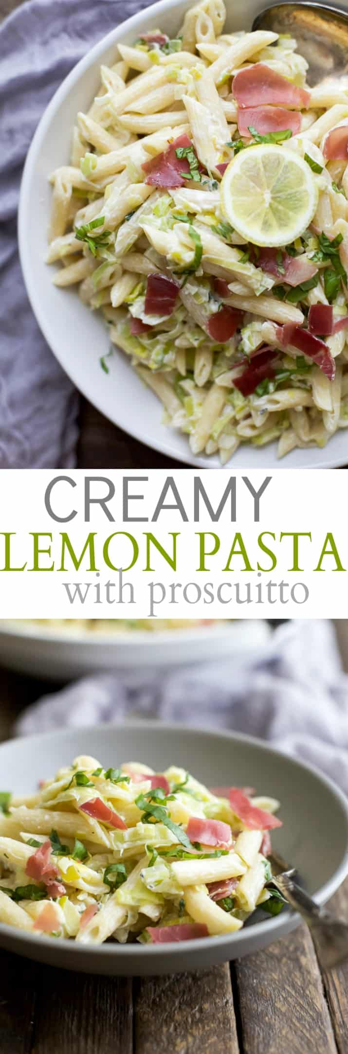 Collage for Creamy Lemon Pasta with Prosciutto recipe