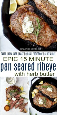 pinterest image for epic 15 minute pan seared ribeye