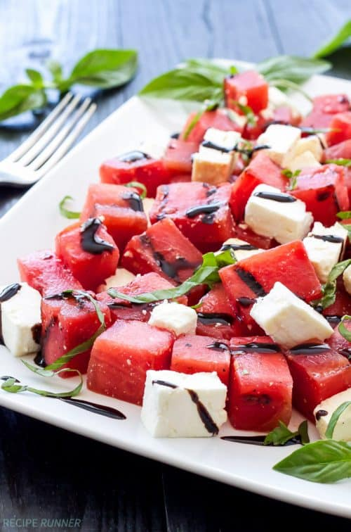 Sweet juicy watermelon salad paired with salty feta, fresh basil, and tart lime juice is a refreshing and easy to make summer salad.