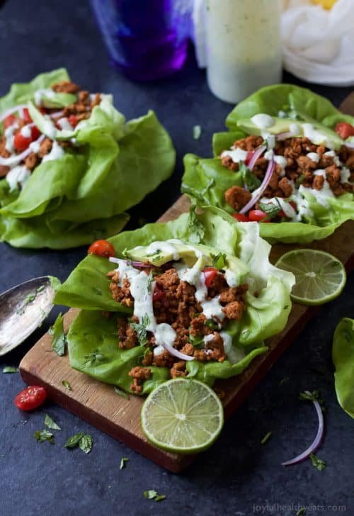 Three Ground Turkey Tacos in Lettuce Wraps with Cilantro Lime Crema