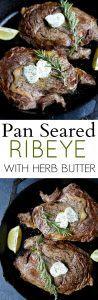 pinterest image for pan seared ribeye