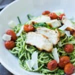Image of Pesto Chicken Zoodles with Burst Tomatoes