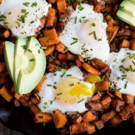 Smoky Bacon Sweet Potato Hash & Eggs - a great 30 minute recipe that's paleo & gluten free! I guarantee you'll want to devour it for breakfast, lunch, and dinner! | joyfulhealthyeats.com