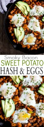 A collage of images of Smoky Bacon Sweet Potato Hash & Eggs skillets.