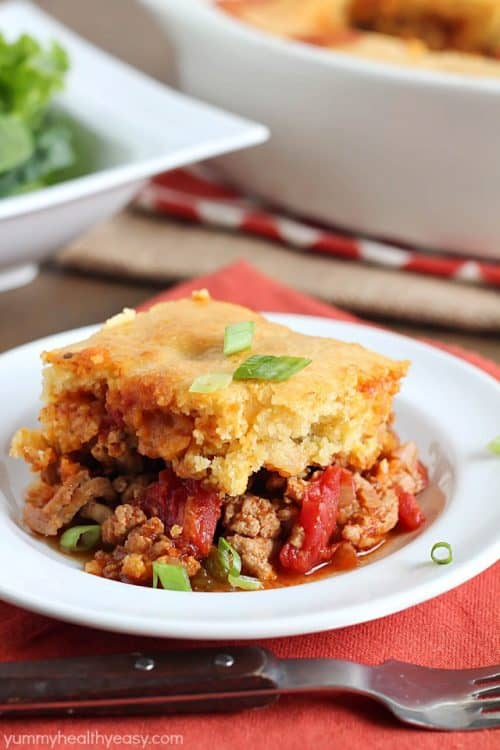 Tamale Pie – flavorful turkey and spices topped with a layer of cornbread. Absolutely delicious!