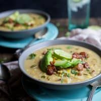 Soup is one of the stars of the fall but this Crock Pot Potato Corn Chowder with Roasted Poblanos is gonna take the cake! It's full of bold flavors, easy to make, gluten free, dairy free, and has BACON! | joyfulhealthyeats.com