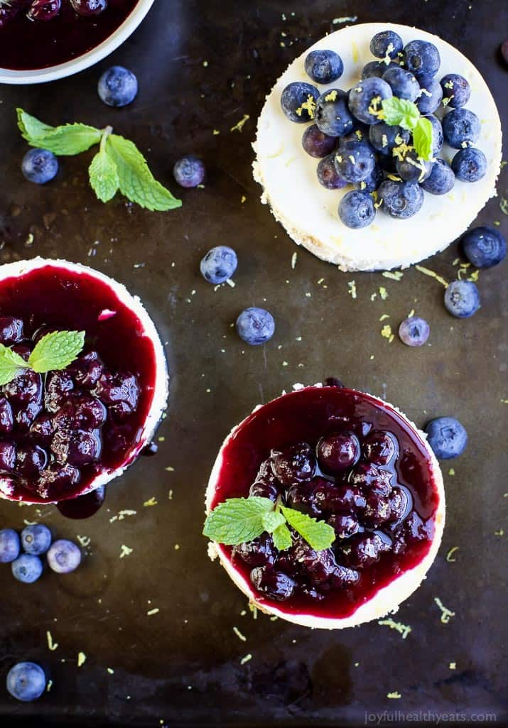 Goat Cheese Cheesecake With Lemon Blueberry Compote Easy Healthy