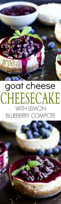 A collage of pictures of Goat Cheese Cheesecake with Lemon Blueberry Compote_LONG