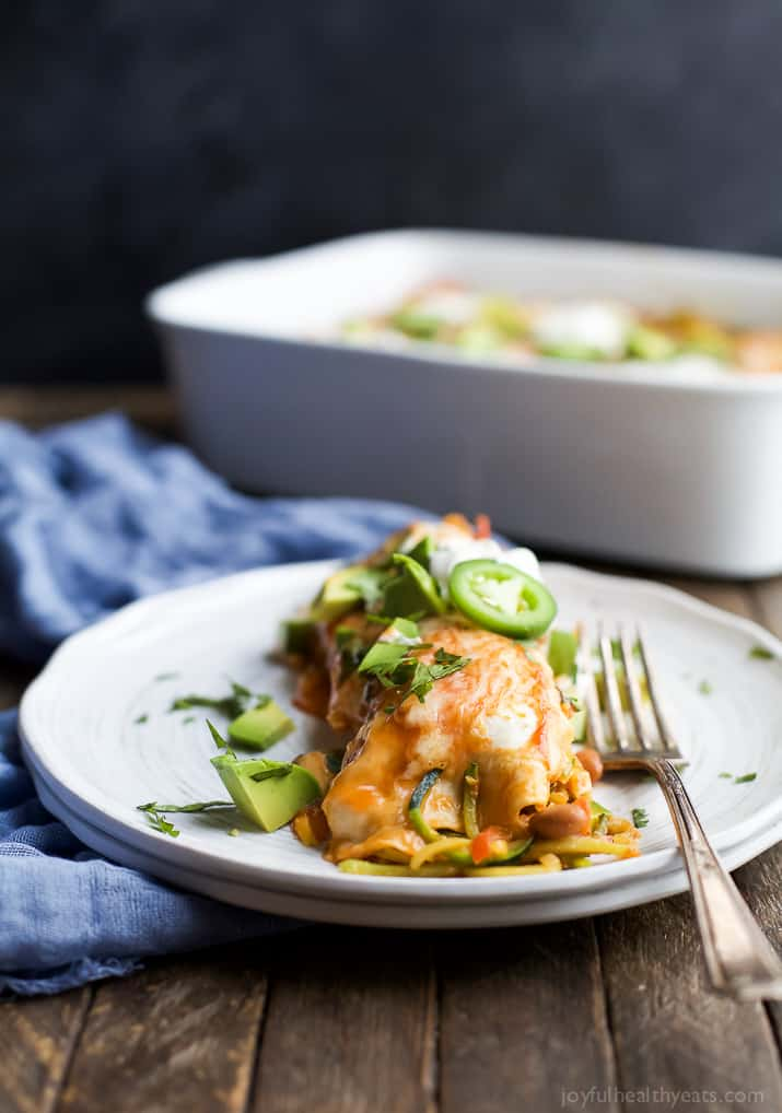 Spiralized Vegetable Enchiladas are a easy light 30 minute meal. Perfect for your next taco night or quick weeknight dinner!
