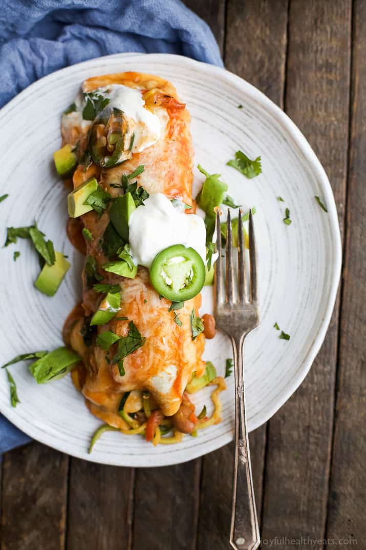 Inspiralized Vegetable Enchiladas are a easy light 30 minute meal. Perfect for your next taco night or quick weeknight dinner! | joyfulhealthyeats.com