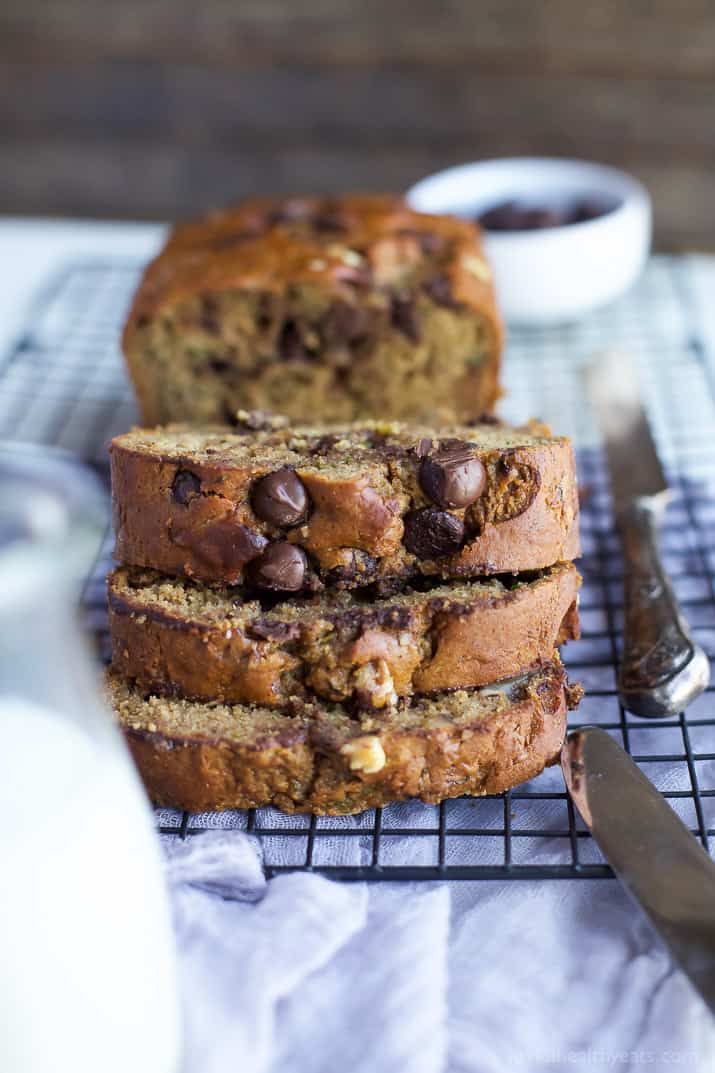 Chocolate Chip Zucchini Bread - it's the Zucchini Bread Recipe you've been waiting for! This bread is moist, healthy from a few simple swaps, and down right deliciously addicting! | joyfulhealthyeats.com