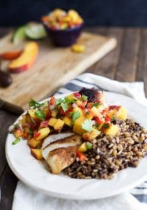Easy Pan Seared Chicken Breasts Recipe with Peach Salsa