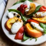 Roasted Red Pepper Peach Caprese with Balsamic Reduction