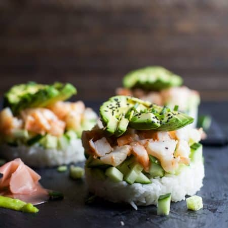 In the mood for Sushi but don't have the time? Problem solved with this easy healthy Stacked California Sushi Roll filled with shrimp, fresh cucumbers, and avocado. Sushi night just got better! | joyfulhealthyeats.com #glutenfree