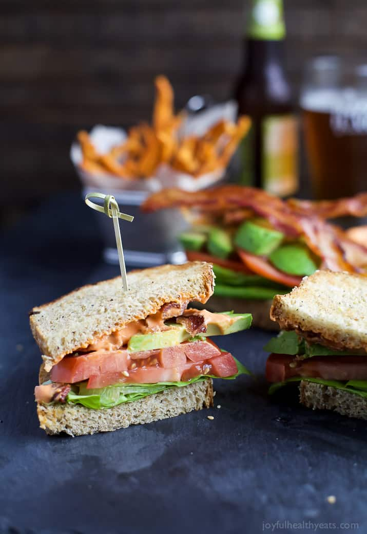 The Ultimate Avocado BLT slathered with a Harissa Mayo that takes this sandwich over the top... that and it's BACON and AVOCADO people!   joyfulhealthyeats.com