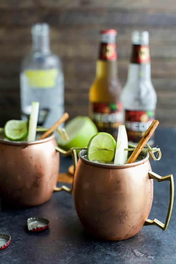 A fun drink for the fall, Apple Cider Moscow Mule, made with hard Apple Cider, Citron Vodka, Ginger Beer, lime juice, and a hint of cinnamon! Easy to make and sure to be a hit! | joyfulhealthyeats.com