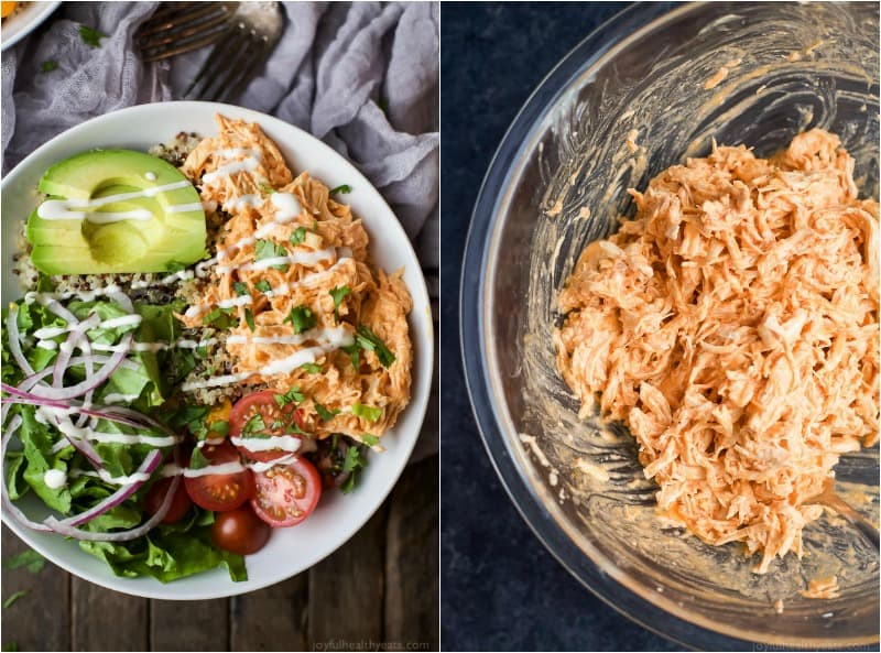A collage of images of a Buffalo Chicken Quinoa Bowl and shredded buffalo chicken in a mixing bowl