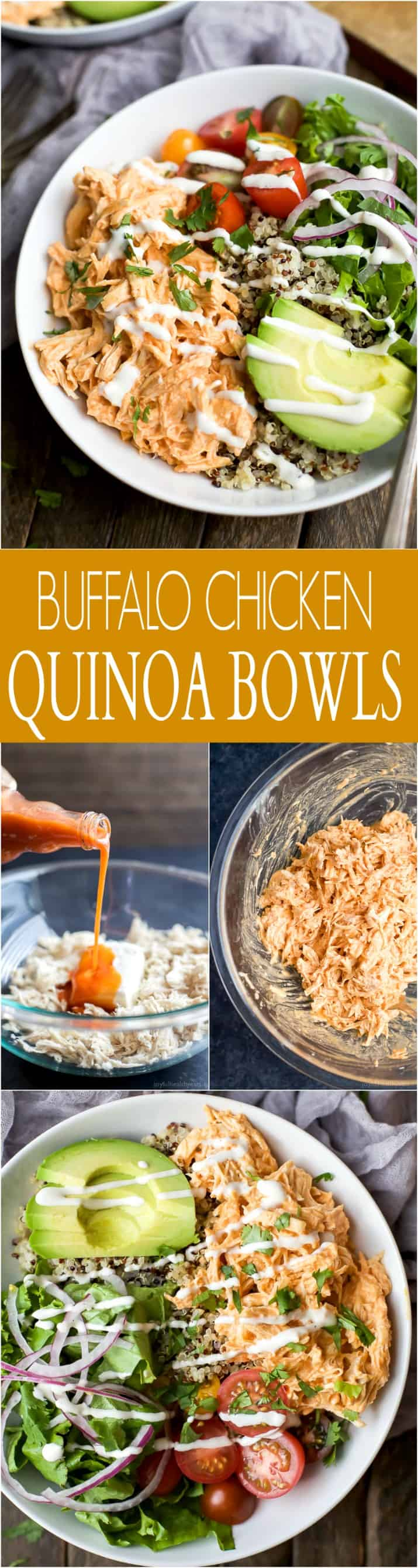 A collage of images of Buffalo Chicken Quinoa Bowls with recipe title text