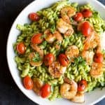 Chimichurri Avocado Pasta with Pan Seared Shrimp, a zesty healthy 25 Minute Pasta you'll feel good about feeding your family! Plus it's loaded with fiber, protein, and healthy fats! | joyfulhealthyeats.com #healthypastamonth #ad
