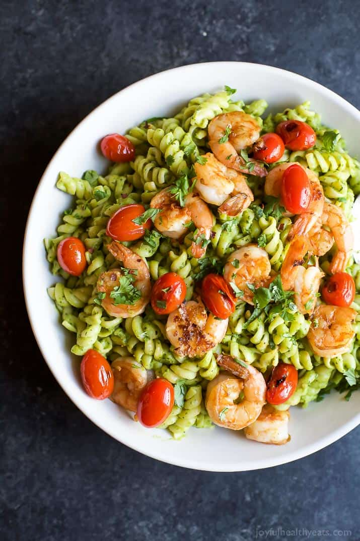 healthy pasta recipes dinner shrimp easy avocado chimichurri pan seared quick noodle month national dinners february joyfulhealthyeats joyful eats protein